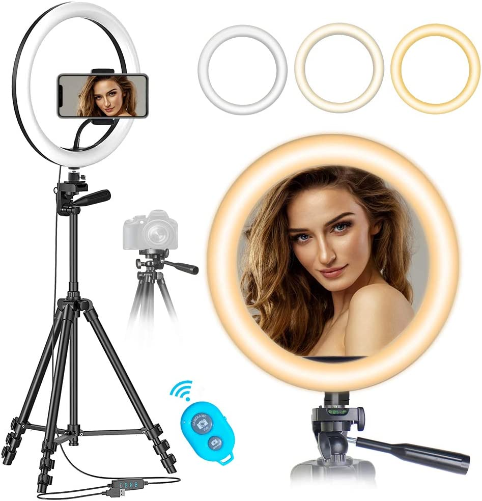 "10"" Ring Light with 50"" Tripod Stand for Live Stream/Makeup/YouTube Video/TikTok/Photography, MOUNTDOG Selfie Ring Light Kit LED Circle Lights with Phone Holder, Compatible with iPhone/Android"