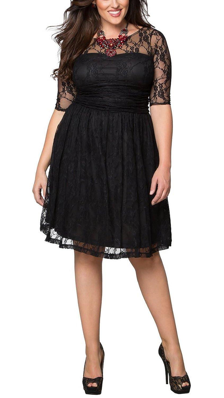 Dilanni Women Plus size Lace Dresses Elegant Formal Cocktail Evening Dresses