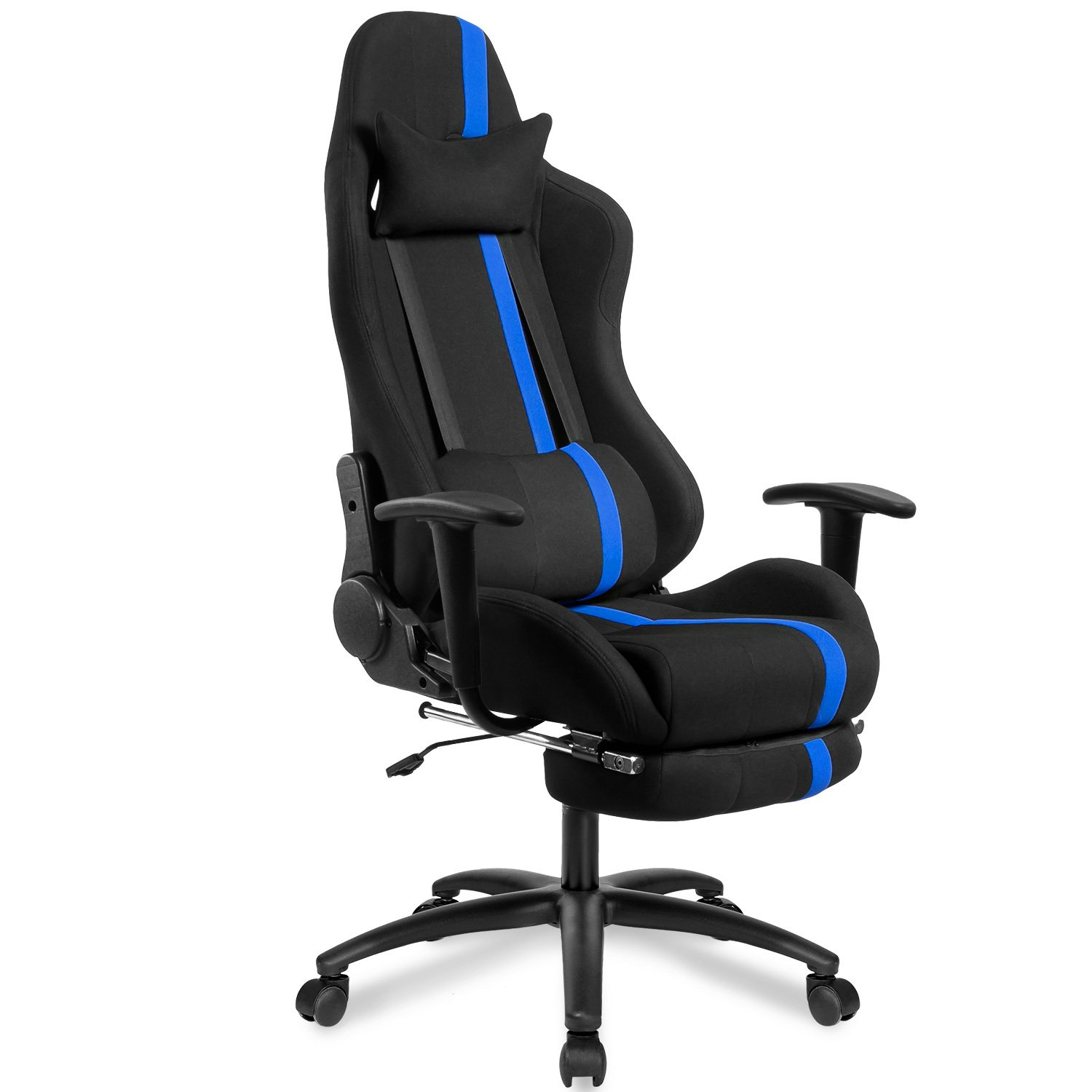 Merax High Back Executive Mesh Racing Chair Ergonomic Series Reclining Office Chair with Back Support and Footrest (blue)