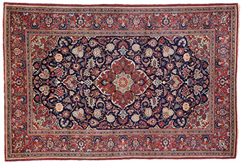 Kashan handmade area rug with blues and burgundies. Size: 4' 7 x 6' 10