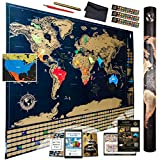 Ultimate Scratch Off World Map – Top Quality Deluxe Wall Poster with 4 Premium Gadgets and 3 E-books – Large Stunning International Atlas to Depict Places You Visited on the Globe - US States Outlined