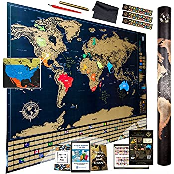 Amazoncom USA Scratch Off Laminated US Map Poster With - Scratch world map us manaufacturuer