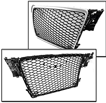 ZMAUTOPARTS 2009-2012 Audi A4 S4 B8 8T RS5 Style Honeycomb Mesh Hex Grille Gloss Black with Silver Trim