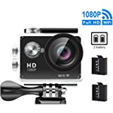 GULEEK Underwater Action Camera 1080P Full HD Wi-Fi Action Cam 12MP Waterproof 30M 155 Degree Wide Angle Lens 2.0 inch LCD Screen Two Rechargeable Batteries With Kit of Accessories DV Camcorder,Black_Wifi