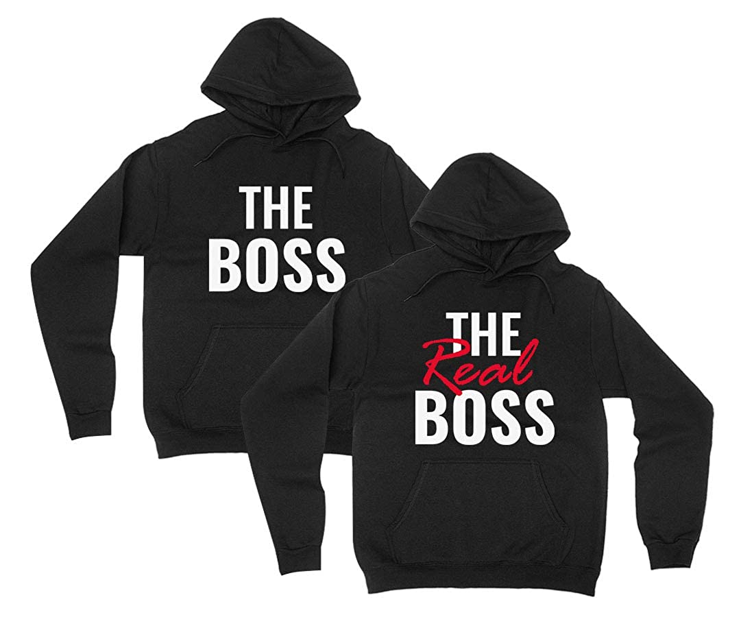 0f6341a71 The Boss & The Real Boss Funny for Couple Matching Hoodies: Amazon.co.uk:  Clothing