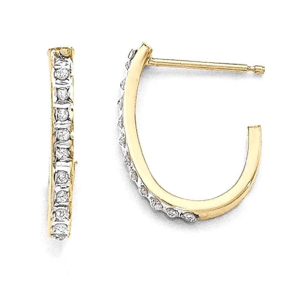 ICE CARATS 14k Yellow Gold Diamond Fascination Post Stud J Hoop Earrings Ear Hoops Set Fine Jewelry Gift Set For Women Heart
