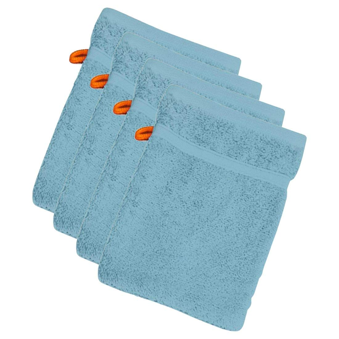 Waschhandschuh Daily 4er Set 4 St/ück Waschlappen Frottee 100/% Baumwolle 29 Farben w/ählbar Farbe:Blue