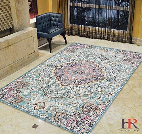 Persian Wool Vase - Faded Distressed Contemporary Vintage Persian Area Rug Aqua Blue/Multi