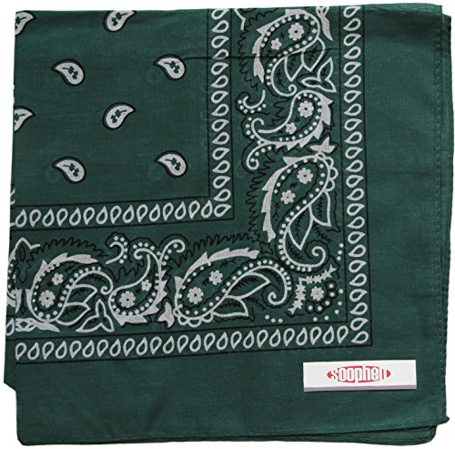 Soophen Paisley One Dozen Cowboy Bandanas (Hunter Green 22 X 22 in , 12-Pack)