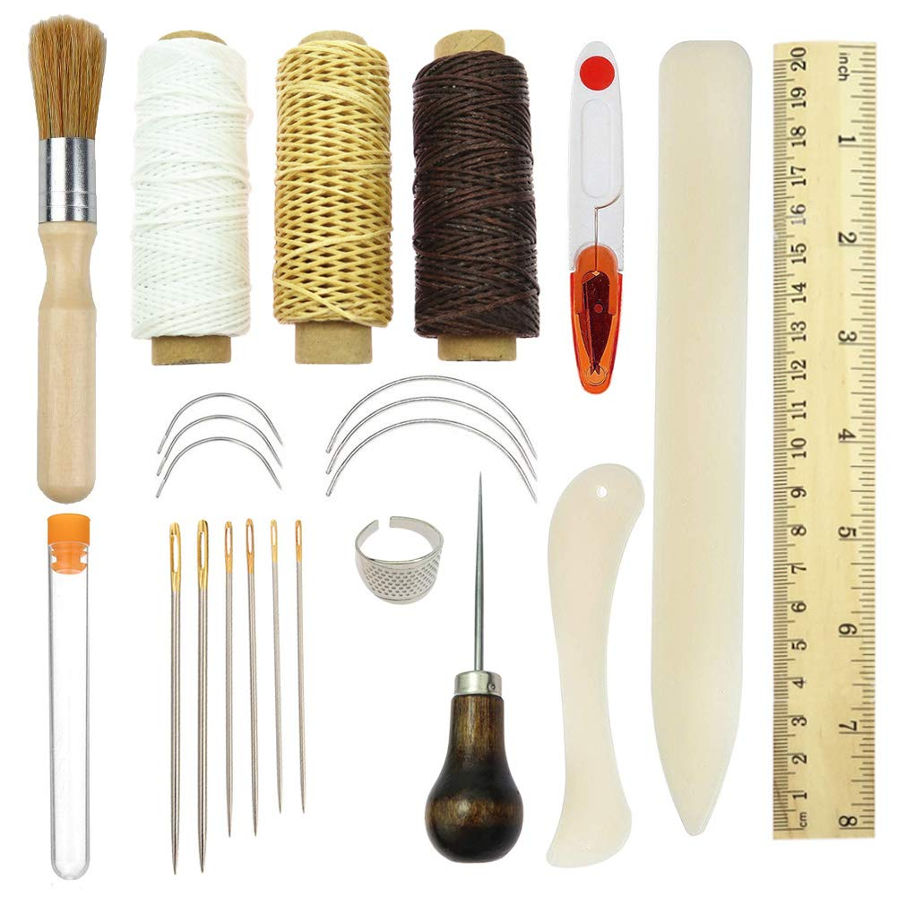 Bookbinding Tools Kits,23PCS Premium Sewing Tools for Leather,Handmade Books and Paper DIY Bookblind Set, Including Sewing Needles/Waxed Thread/Plastic Ruler and So On Like Main Picture Vidillo