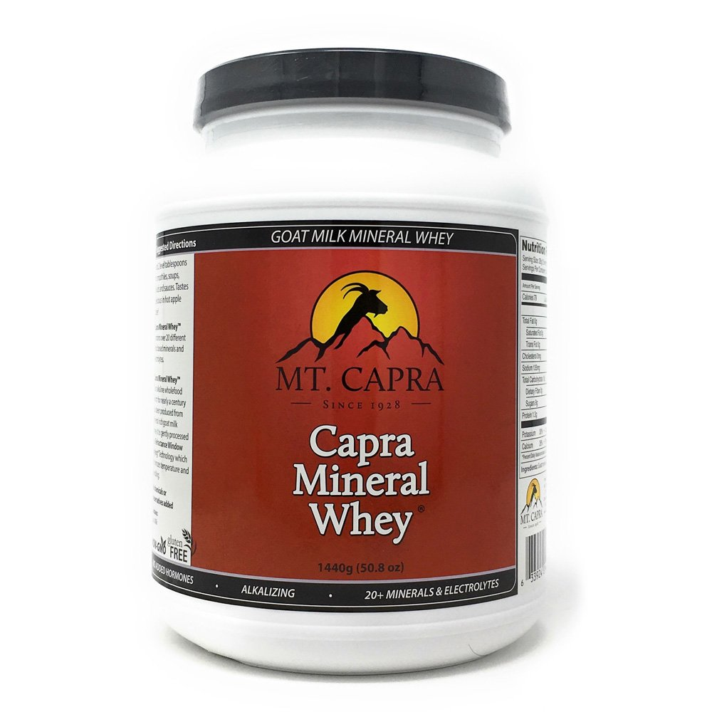 Minerals by Mt. Capra - Capra Mineral Whey, Alkalizing Food Based Electrolyte Powder From Goat Milk, Bernard Jensen and Doctor Recommended Source of Potassium, Sodium, Magnesium - 1440 Gram Powder