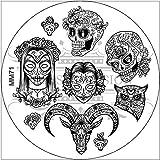 MESSY MANSION MM71 Nail Art Stamping Plate - Sugar Skulls and Roses