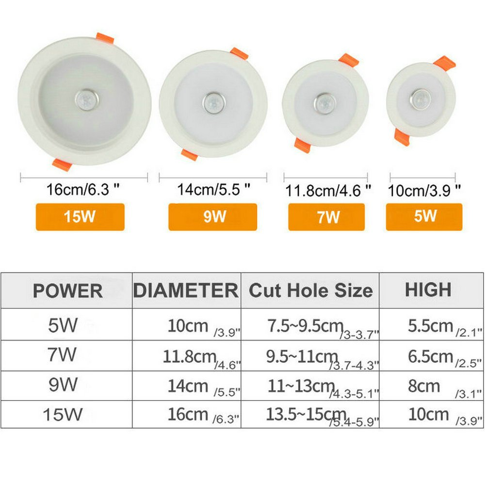 DPG Led Recessed Downlight Round Fixture Ceiling Lights with IR Infrared Induction Sensor Switch Cool White 9W 220v 110v for Human Body Indoor Hallway by DPG Lighting (Image #6)