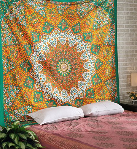Rajrang Queen Star Mandala Psychedelic Tapestry Hippie Bohemian Wall Hanging Tapestries Bedspread Bedding Bed Cover ()