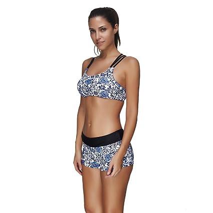 Hmeng Bademode, Blaue und weiße Porzellan Frauen bedruckte Strand Bikini  Set Push Up gepolsterte Badeanzug Bademode: Amazon.de: Bekleidung