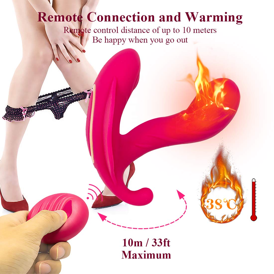 Wearable Vibrators Wireless USB Charging Remote Control Clitoral G spot Butterfly Massager Vibrating Panties Smart Heating 10 Vibration Flirting Dildo Sex Toy Adult Toys for Women Couple Female