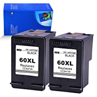 4INX Remanufactured Ink Cartridge Replacement for HP 60XL Black CC641W (2 Black) for HP Deskjet D2500 D2530 D2545 D2560 F4200 F4 210 F4230 F4235 HP Photosmart C4680