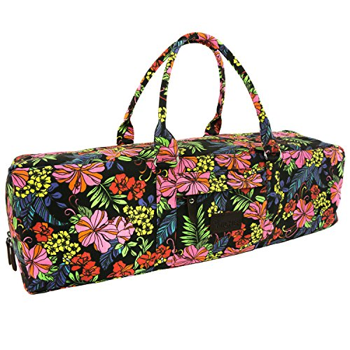 MiChef Yoga Mat Bag - Patterned Canvas Duffle Bag with Zipper and Pocket (Ethnic Floral)