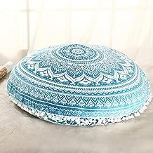 "Sleepwish Large 18"" Round Pillow Cover Boho Mandala Floor Cushion Zen Meditation Pillow Case Outdoor Pom Pom Pillow Sham (Turquoise White)"
