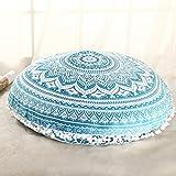 Sleepwish Large 30'' Round Pillow Cover Boho Mandala Floor Cushion Zen Meditation Pillow Case Outdoor Pom Pom Pillow Sham (Turquoise White)