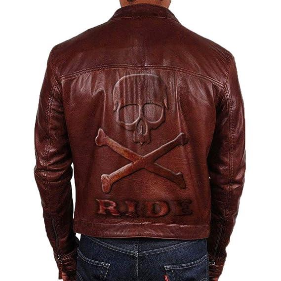 Logotipo en Relieve Slim Fit Biker Estilo Moto Cuero Chaqueta Vintage marrón con Calavera en Espalda: Amazon.es: Ropa y accesorios
