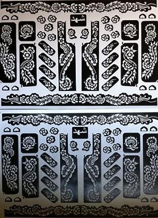 2 Sheets Henna Stickers Tattoo Bodyart Mehndi Stencil Amazon Co Uk