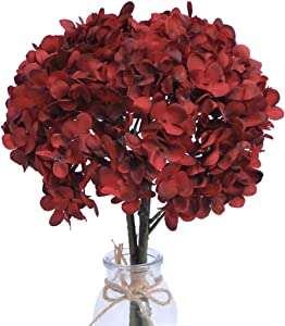 Baby Plum Hydrangea Artificial Flowers Red Faux Flowers Bundles Silk Flowers with Stems Floral Arrangements Artificial Centerpieces for Wedding Table Dining Room Living Room Decoration,1PCS