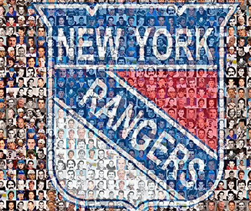 NHL NY Rangers Photo Mosaic Print Art Designed Using 100 of the Greatest Rangers Players of All Time. 8x10