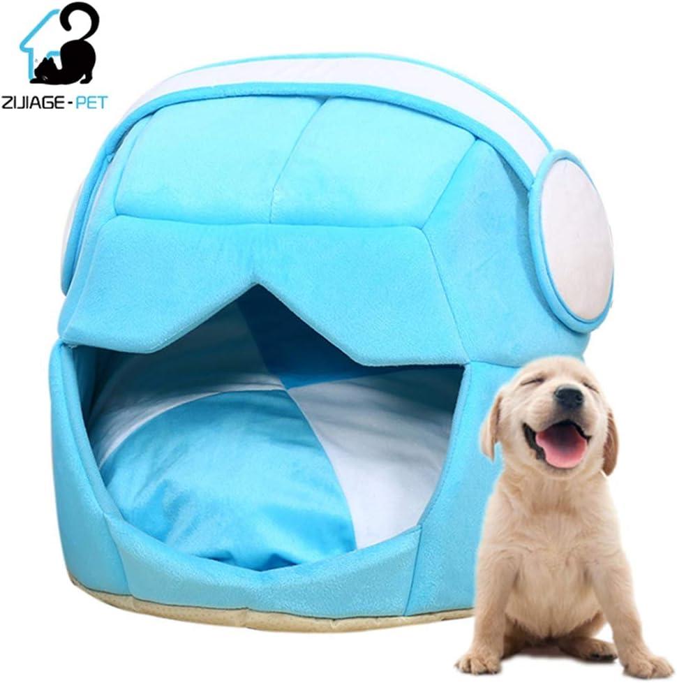 Pet Nest 2 Utiliza Casco Plegable Suave y cálido Espacio Gato Cama para Perros para Perros Cueva Cachorro colchoneta Manta para Gatos Mascotas casa,Azul,L