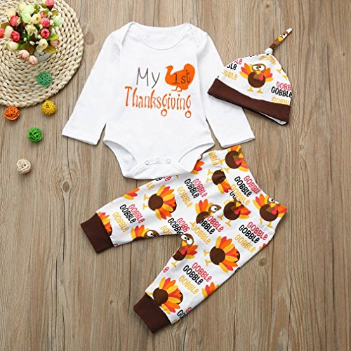 WINWINTOM Neugeborenes Baby Mädchen Boy Brief Strampler Tops + Hosen Thanksgiving Outfits Set Weiß