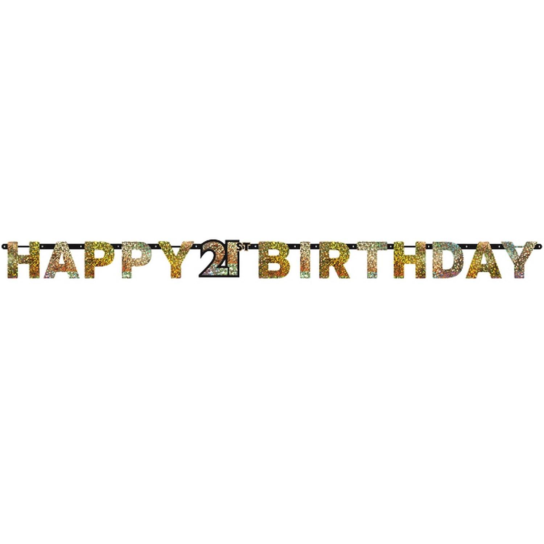 Amscan 9900561 2.4 m x 16 cm Gold Celebration 21st Happy Birthday Prismatic Letter Banner Amscan Internatinal Ltd