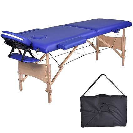 Lettino Massaggio Professionale Pieghevole.Mc Dear Lettino Da Massaggi Legno 2 Zone Pieghevole Portatile Professionale Lettini Massaggi Altezza Regolabile Con Bracciolo Poggiatesta Borsa Da