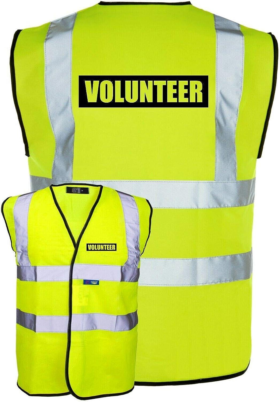Volunteer Yellow Hi-Vis High-Vis Visibility Safety Vest//Waistcoat