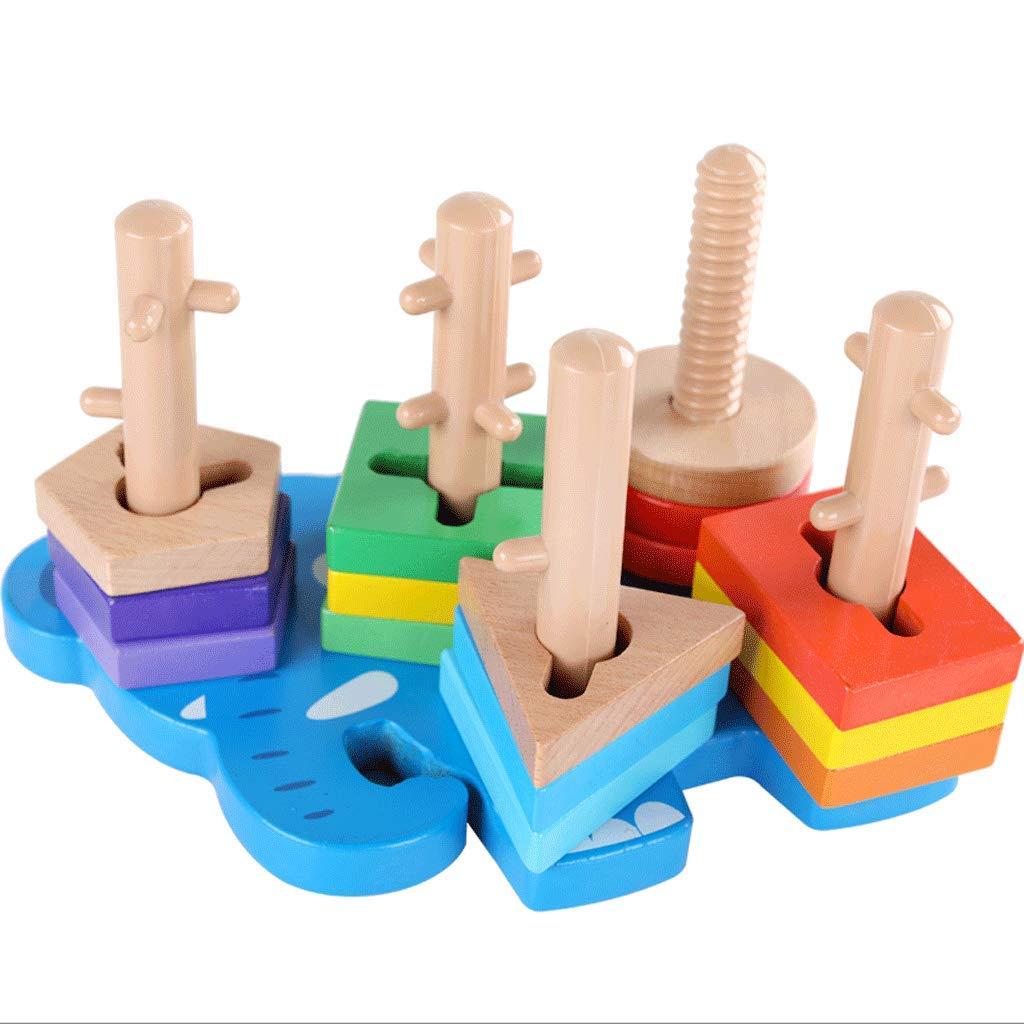 ZYN 1 a 3 años de Edad, Juguetes para niños, Juego de Formas, Juego de Columna, educación temprana, Entrenamiento de coordinación Mano-Ojo, bebé portátil con Barril (Color : Elephant Set)