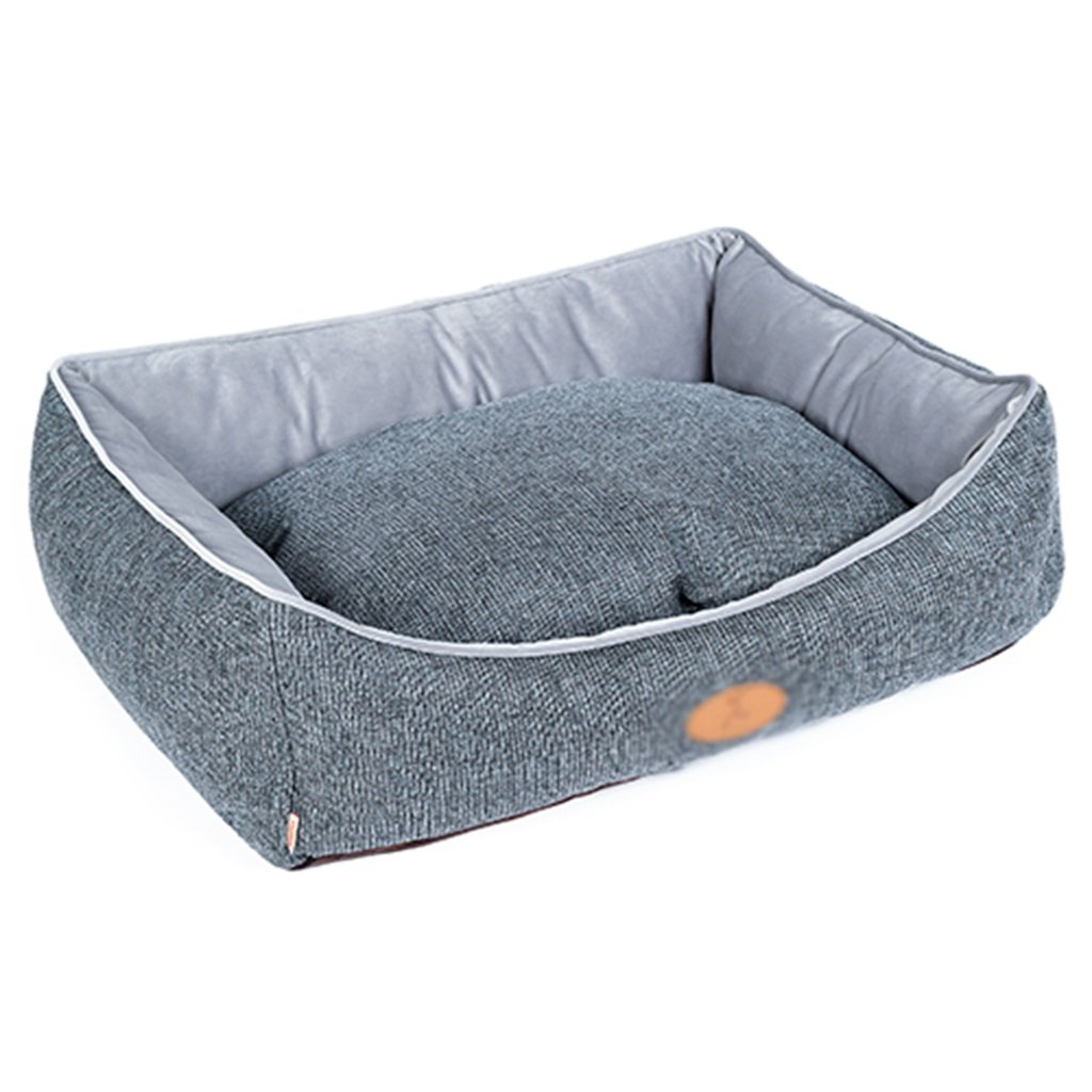 bluee Large bluee Large Pet bed removable wash small dog supplies coated cloth warm cave ( color   bluee , Size   L )