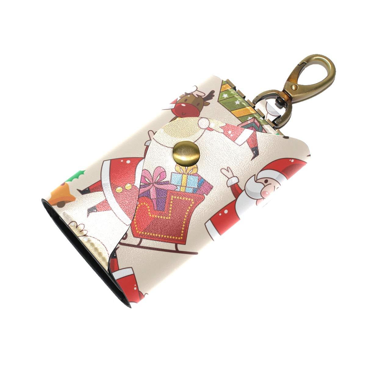 KEAKIA Christmas Santa Pattern Leather Key Case Wallets Tri-fold Key Holder Keychains with 6 Hooks 2 Slot Snap Closure for Men Women