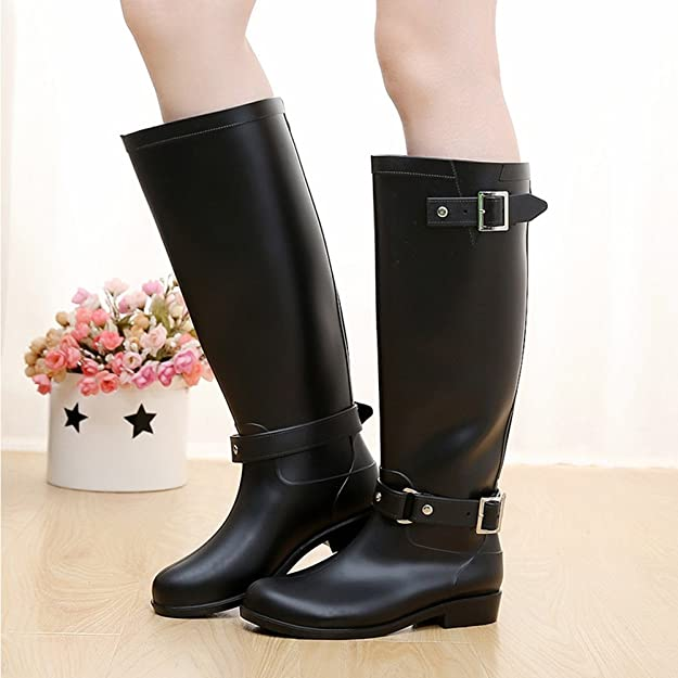 Amazon.com | Maybest Women Fashion Buckle Over Knee Tight Slim Long Rain Shoes Martin Slip Resistant Waterproof Rain Boots | Rain Footwear