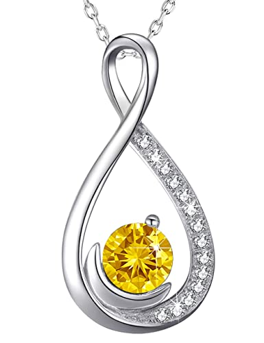 Endless Love Infinity And Moon Necklace Sterling Silver Jewelry Gifts For Women Yellow Citrine Swarovski