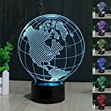SUPERNIUDB Earth America Globe 3D Illusion LED Night Light 7 colour Desk Table lamp Gifts Review