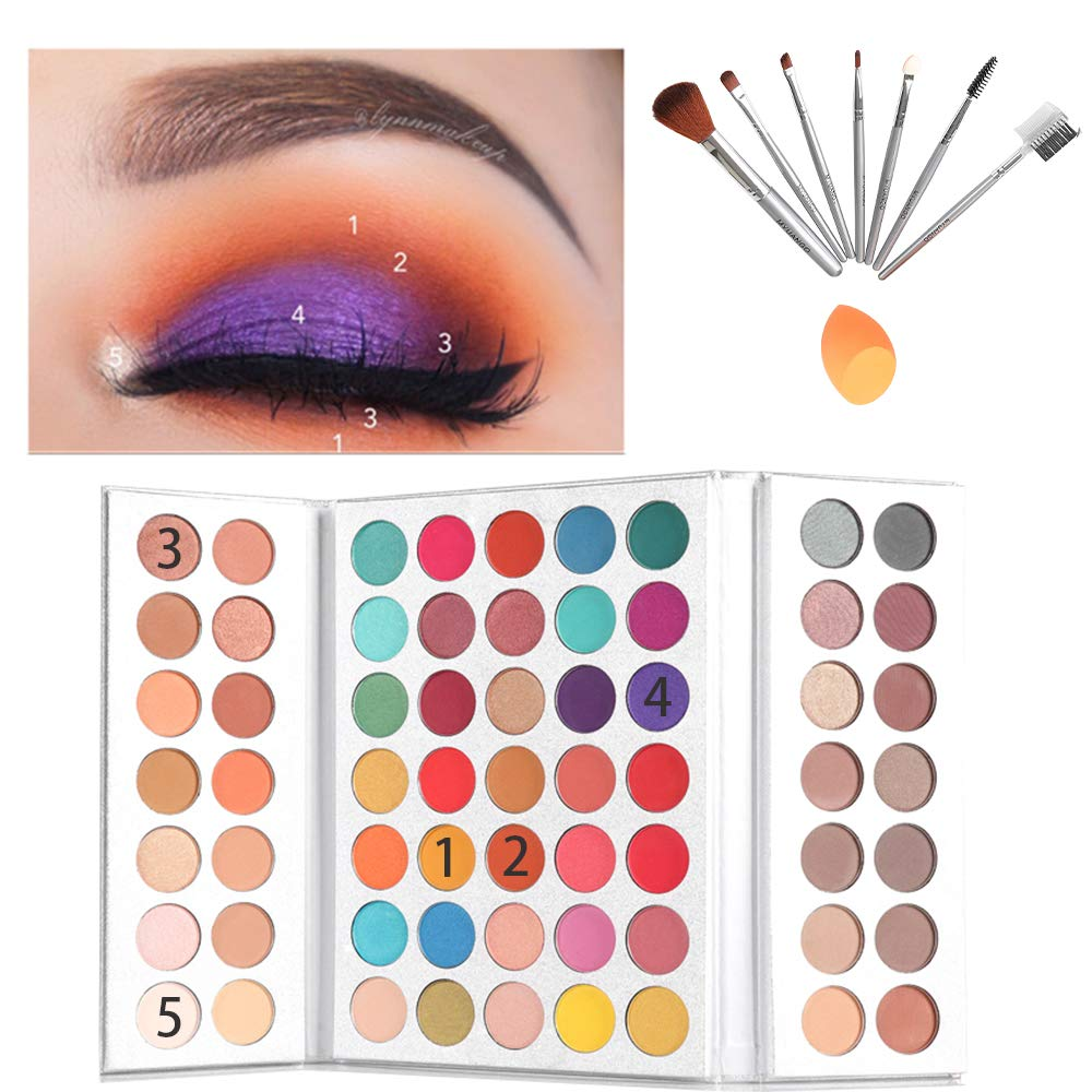 Beauty Glazed 63 Pop Colors Eyeshadow Palettes Matte and Shimmer Blendable Eye Shadow Powder Make Up Waterproof Eye Shadow Palette with Make Up Brushes Set and Powder Sponge Blender