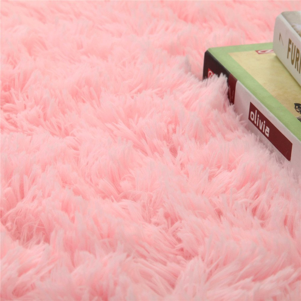 Pink WDDH 3.2 Feet Luxury Plush Round Area Rugs Floor Mat Super Soft Home Decorator Living Room Bedroom Carpet Woman Yoga Mat Kids Play Rug