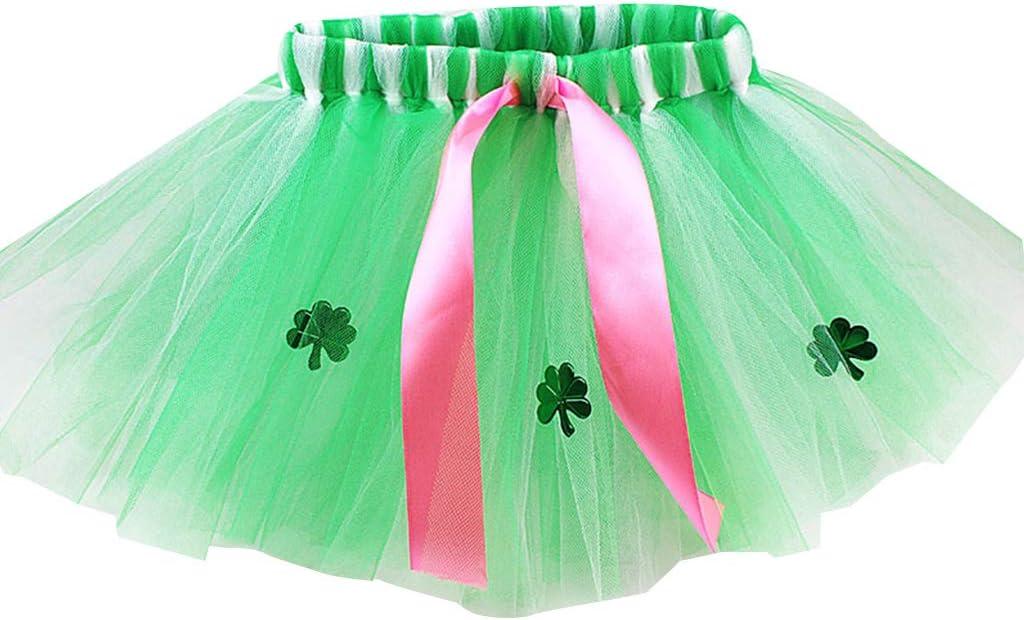 Vxhohdoxs Falda tutú de tul con cinta verde lentejuelas y trébol ...