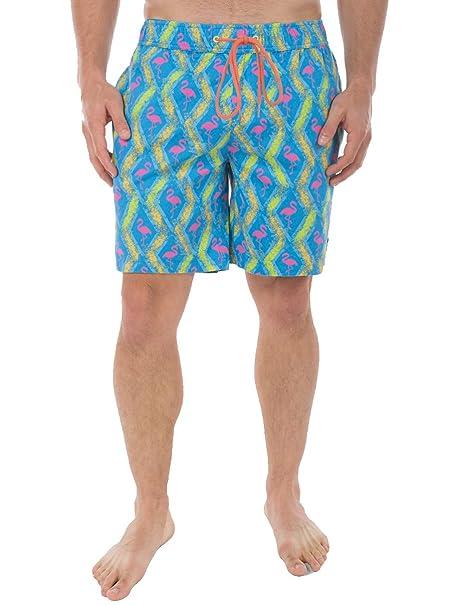 Hombres del Flamenco - Shorts de playa brillante neón verano corto  pantalones cortos - Azul -   Amazon.es  Ropa y accesorios 80a837da9e1