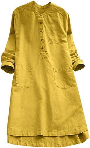 Ronamick vestidos mujer casual 2019 Las mujeres de manga larga retro informal botón suelto tops blusa mini vestido de la camisa Vestidos cortos verano(Amarillo,XL): Amazon.es: Iluminación