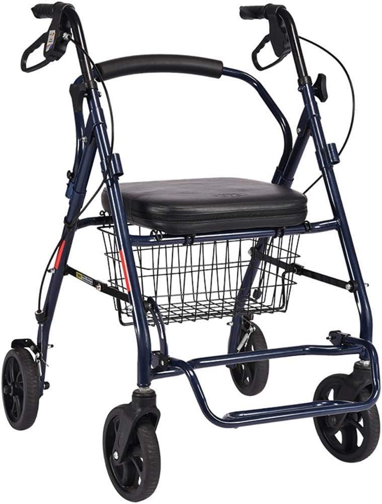 PNYGJZXQ Carro de Compras Plegable de Aluminio for Andador con Ruedas for Personas Mayores, con Respaldo y Pedal, Equipado con Freno de Dos Manos y Canasta de Compras
