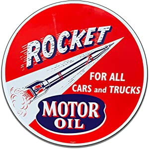Rocket Motor Oil for Cars and Trucks Gasoline Space Reproduction Car Company Garage Signs Metal Vintage Style Decor Metal Tin Aluminum Round Sign Home Decor With 2 American Flag Vinyl Decals