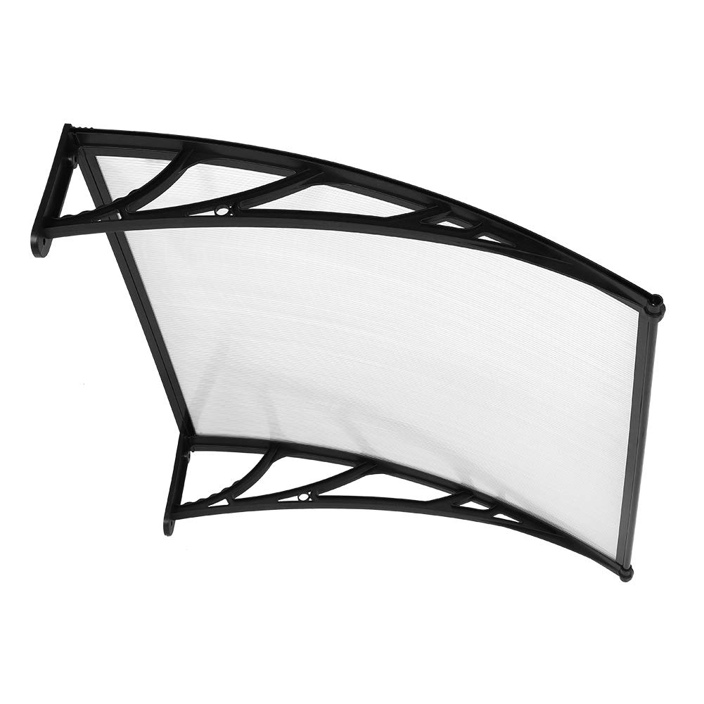 40'' x 40'' Door Window Outdoor Awning, Outdoor Canopy Patio Cover UV Rain Snow Sun Shield Protection (Transparent Plate Black Support) by Cocoarm