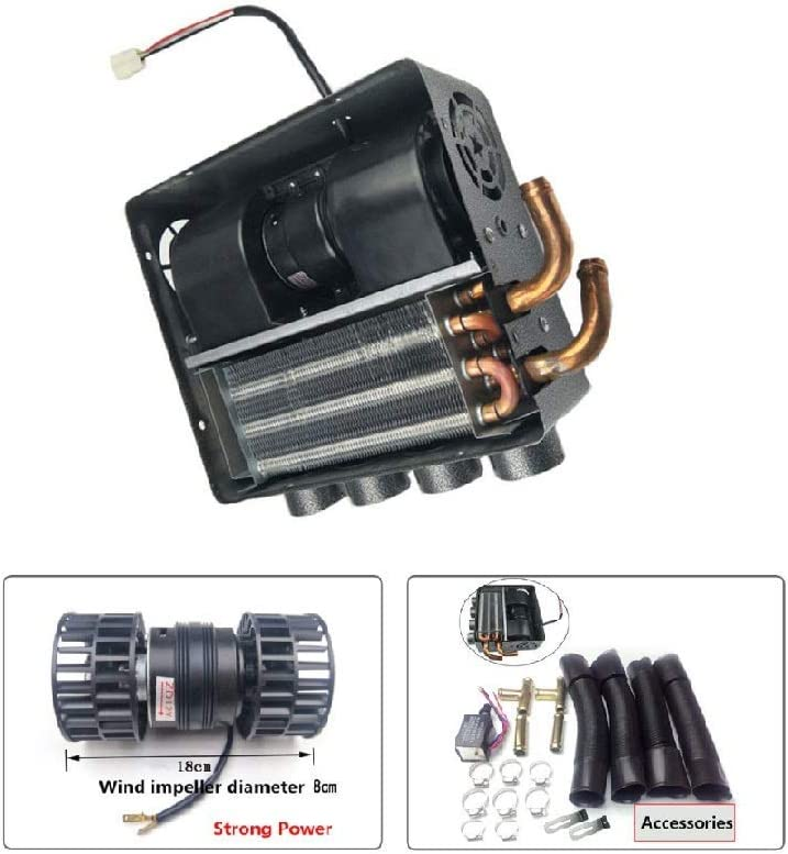 12V Auto 4 Port Underdash Compact Heater Kit 12X Copper Tube+Speed Switch Set for Truck Universal Trucks Minivans Excavators Harvesters Tricycles.