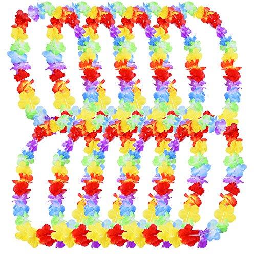 eBoot Hawaiian Ruffled Flower Lei for Dress, Party Necklace and Beach, 10 (Rainbow Leis)