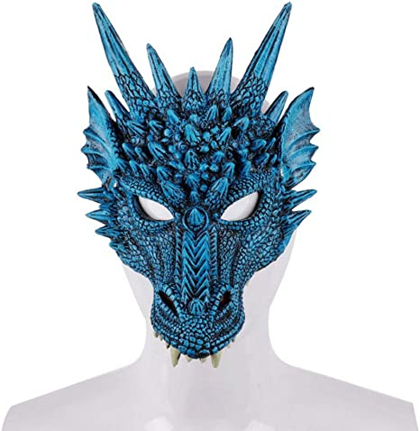 Kids Teens Adults 4D Dragon Mask Half Face Mask Halloween Costume Party Supplies
